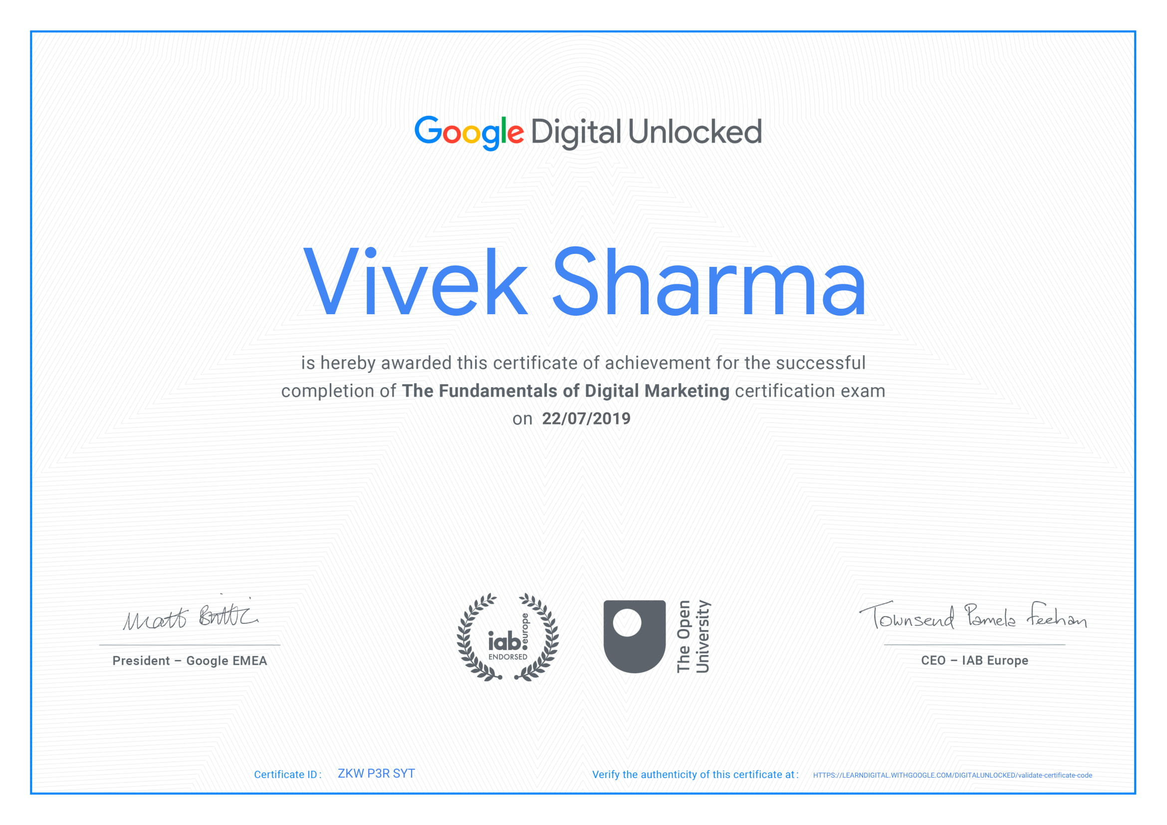 Vivek Sharma - Google Certified